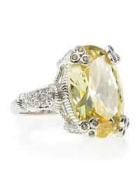 Judith Ripka Yellow Canary Crystal Ring Size 7