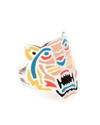 KENZO | Metallic Silver Tone Tiger Ring | Lyst