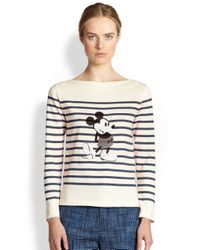 Marc Jacobs - Natural Sequined Mickey Stripe Sweater - Lyst