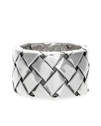 Bottega Veneta | Metallic Silver Intrecciato Ring | Lyst