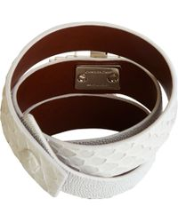 Givenchy - White Shagreen Python Threerow Obsedia Bracelet - Lyst