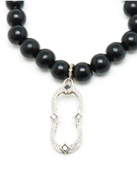 Loree Rodkin - Black Wooden Bead Bracelet With Diamond Charm - Lyst