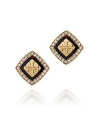 Tory Burch - Metallic Mccoy Pave Stud Earring - Lyst