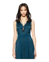 Tory Burch - Blue Greer Scarab Pendant Necklace - Lyst