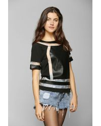 Urban Outfitters - Black Sparkle Fade Sheer Stripe Fabric mix Top - Lyst