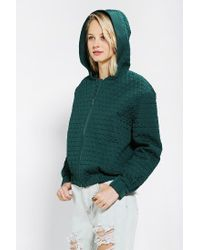 Urban Outfitters - Green Cameo Some Nights Quilted Bomber Jacket - Lyst