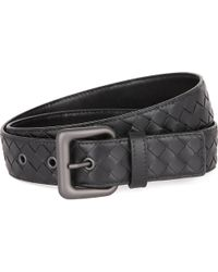 Bottega Veneta - Black Intrecciato Leather Belt - Lyst