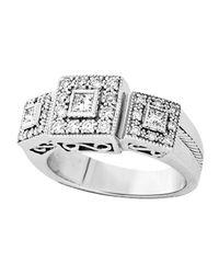 Charriol - Metallic Diamond Three Squarestation Ring Size 65 - Lyst