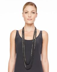 Eileen Fisher | Black Beaded Crochet Necklace | Lyst