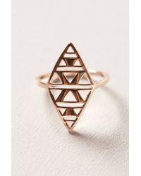 Gorjana - Metallic Rosegold Shield Ring - Lyst