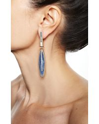 Monique Péan - Blue Vivid Grey Fossilized Walrus Ivory and White Diamond Earrings - Lyst