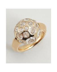 Pomellato - Metallic Gold and Clear Amethyst Multi Stone Ball Estate Ring - Lyst