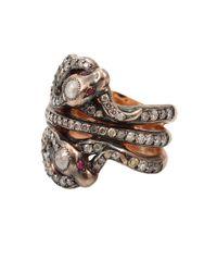 Sylva & Cie - Metallic Ruby Triple Snake Ring - Lyst