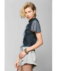 Urban Outfitters - Gray Tela Velvet Fluttersleeve Top - Lyst