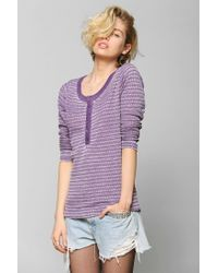 Urban Outfitters - Purple Colorfast Thermal Henley Top - Lyst