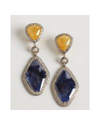 Amrapali - Blue and Yellow Sapphire and Diamond Drop Earrings - Lyst