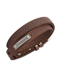 Fossil - Brown Leather and Blue Stitching Wrap Bracelet for Men - Lyst