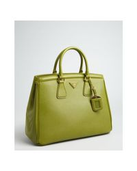 7065e6d3547b Lyst - Prada Grass Green Saffiano Leather Small Satchel in Green