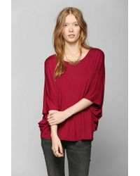 Urban Outfitters | Red Staring At Stars Metallic Kimono Sleeve Top | Lyst