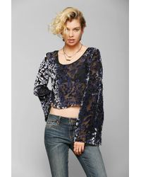 Staring At Stars | Purple Burnout Velvet Bell-Sleeve Top | Lyst