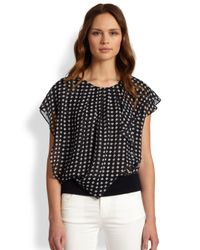 Armani - Black Camelia Silk Print Blouse - Lyst