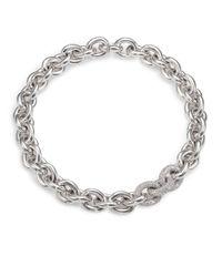 Eddie Borgo - Metallic Pavé Link Necklace/silvertone - Lyst