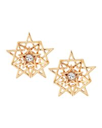 Eddie Borgo - Pink Pave Pentagram Stud Earrings Rose Goldplate - Lyst