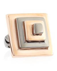 Eddie Borgo - Pink Two-Tone Block Pyramid Ring, Rose/Gunmetal - Lyst