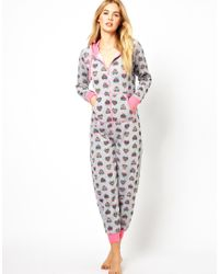 Gossard - Gray New Look Geotribal Heart Onesie - Lyst