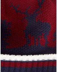 Tatty Devine - Red New Look Stag Beanie Hat with Bobble for Men - Lyst