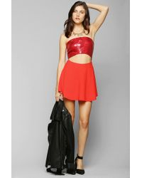 Urban Outfitters - Red Naven Sequin Cutout Skater Dress - Lyst