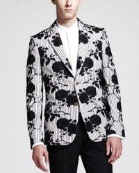 Alexander McQueen | Black Slim-Fit Rose-Embroidered Cotton Blazer for Men | Lyst