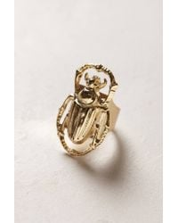 Anthropologie | Metallic Golden Scarab Ring | Lyst