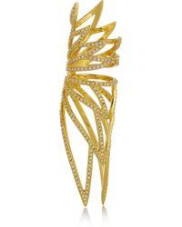 Eddie Borgo | Metallic Winged Hinge Goldplated Cubic Zirconia Ring | Lyst