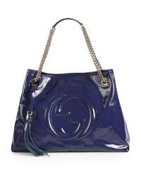 Gucci - Blue Soho Patent Leather Shoulder Bag - Lyst
