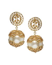 Insight - Natural River Island Oversized Wire Pearl Centre Stud Earrings - Lyst