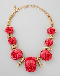 Oscar de la Renta | Pink Resin Rose Necklace Amaranth | Lyst