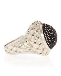 Slane | Black Sapphire Pave Basket-Weave Ring | Lyst