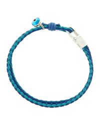 Tateossian | Wovenleather Evil Eye Bracelet Blue for Men | Lyst