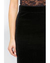 Ecote | Black Velvet Midi Skirt | Lyst