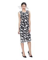 Oscar de la Renta - Multicolor Sleeveless Dress with Chiffon Floral Detail - Lyst