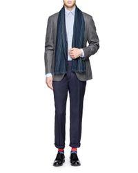Paul Smith - Blue Herringbone Wool Scarf for Men - Lyst