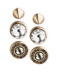 RACHEL Rachel Roy | Metallic Rosegoldtone Crystal Stud Earring Set | Lyst