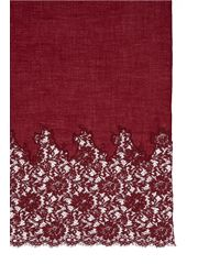 Valentino - Red Lace Panel Wool-cashmere Blend Scarf - Lyst