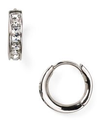 Nadri | Metallic Tiny Channel Set Hoop Earrings | Lyst