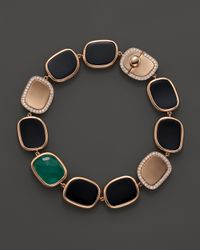 Roberto Coin | Pink 18K Rose Gold Diamond, Black Jade And Green Agate Bracelet | Lyst