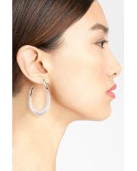 Alexis Bittar | White Lucite Crystal Capped Hoop Earrings | Lyst