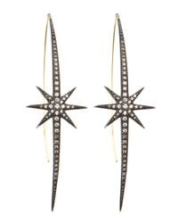 Mizuki - Metallic Shadow Silver Starburst Earrings - Lyst