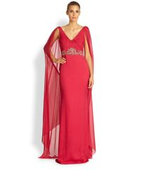 Notte by Marchesa - Red Silk Chiffon Caftan Gown - Lyst