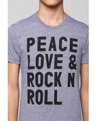 Urban Outfitters | Gray Peace Love Rock Tee for Men | Lyst